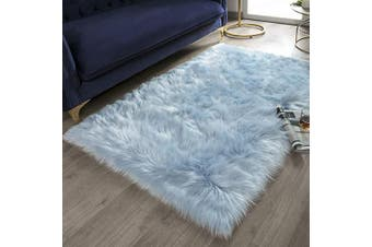 (0.9m x 1.5m Rectangle, Light Blue) - Ashler Soft Faux Rectangle Fur Chair Couch Cover Light Blue Area Rug for Bedroom Floor Sofa Living Room Rectangle 0.9m x 1.5m