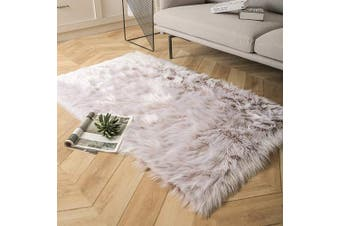 (0.9m x 1.5m Rectangle, Beige-white) - Ashler Soft Faux Rectangle Fur Chair Couch Cover Beige Area Rug for Bedroom Floor Sofa Living Room Rectangle 0.9m x 1.5m