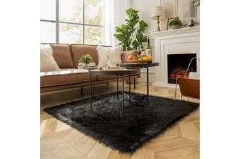 (4 x 0.4sqm, Black) - Ashler Soft Faux Sheepskin Fur Chair Couch Cover Area Rug for Bedroom Floor Sofa Living Room Black Square 1.2m x 1.2m