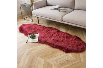 (0.6m x 1.8m Sheepskin, Dark Red) - Ashler Ultra Soft Fluffy Area Rug Faux Fur Sheepskin Carpet Chair Couch Cover for Bedroom Floor Sofa Living Room, Dark Red 0.6m x 1.8m