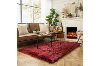 (1.2m x 1.8m Rectangle, Dark Red) - Ashler Soft Faux Sheepskin Fur Chair Couch Cover Area Rug for Bedroom Floor Sofa Living Room Dark Red Rectangle 1.2m x 1.8m