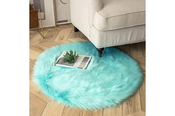 (0.9m x 0.9m Round, Turquoise) - Ashler Ultra Soft Fluffy Area Rug Faux Fur Sheepskin Carpet Chair Couch Cover for Bedroom Floor Sofa Living Room, Turquoise Round 0.9m x 0.9m