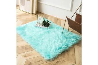 (0.6m x 0.9m Rectangle, Turquoise) - Ashler Ultra Soft Fluffy Area Rug Faux Fur Sheepskin Carpet Chair Couch Cover for Bedroom Floor Sofa Living Room, Turquoise Rectangle 0.6m x 0.9m