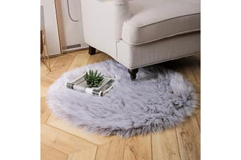 (0.9m x 0.9m Round, Grey-white) - Ashler Soft Faux Sheepskin Fur Chair Couch Cover Area Rug Bedroom Floor Sofa Living Room Light Grey Round 0.9m x 0.9m