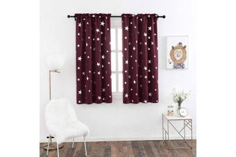 (W38 X L54, Red/Rod Pocket) - Anjee Blackout Drapes for Bedroom 140cm Long with Rod Pocket Top, Kids Curtains with Star Pattern Thermal Insulated,100cm x 140cm , Red