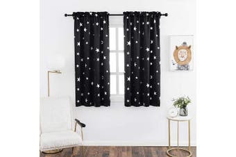(W38 X L63, Black/Rod Pocket) - Anjee Room Darkening Curtains 160cm Long for Living Room, Blackout Drapes Thermal Insulated, 100cm x 160cm , Black