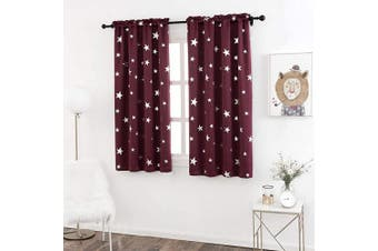 (W38 X L63, Red/Rod Pocket) - Anjee 160cm Curtains for Bedroom with Foil Printed Star, Thermal Insulated Blackout Drapes with Rod Pocket Top, 100cm x 160cm , Red