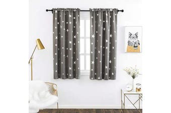(W38 X L45, Space Grey/Rod Pocket) - Anjee Boys Room Curtains 2 Panel with Foil Printed Star Pattern, Blackout Drapes Help Light Blocking, 100cm x 110cm , Grey