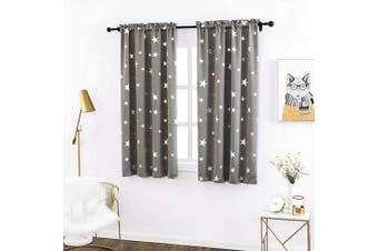 (W38 X L54, Space Grey/Rod Pocket) - Anjee Kid Room Curtains 140cm Long Thermal Insulated, Blackout Drapes with Silver Star Pattern, 100cm x 140cm , Grey