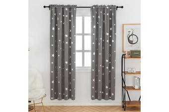 (W38 X L72, Space Grey/Rod Pocket) - Anjee Grey Blackout Curtains for Living Room with Cute Silver Star Pattern, Thermal Insulated Drapes with Rod Pocket Top, 100cm x 180cm
