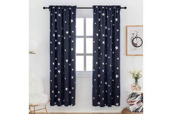 (W38 X L84, Navy Blue/Rod Pocket) - Anjee Blue Blackout Curtains 210cm Long for Bedroom with Lovely Silver Star, Rod Pocket Top Drapes Light Blocking, 100cm x 210cm