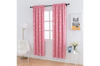 (W38 X L84, Pink/Rod Pocket) - Anjee Pink Blackout Drapes for Kids with Silver Star, Thermal Insulated Blackout Curtains for Bedroom Light Blocking, 100cm x 210cm , Pink …