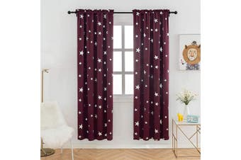 (W38 X L72, Red/Rod Pocket) - Anjee 180cm Blackout Drapes for Living Room with Rod Pocket, Room Darkening Curtains Help Light Blocking, 100cm x 180cm , Red
