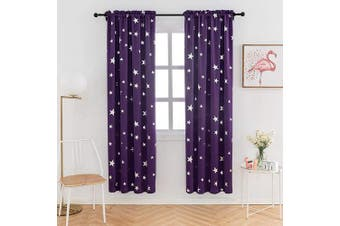 (W38 X L72, Purple/Rod Pocket) - Anjee Backout Drapes 180cm Long for Bedroom Rod Pocket Top, 2 Panels Room Curtains with Foil Printed Star Pattern, 100cm x 180cm , Purple