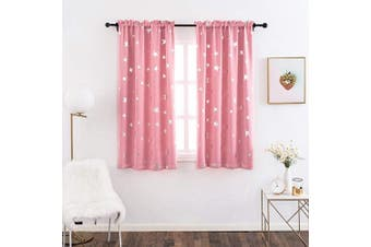 (W38 X L45, Pink/Rod Pocket) - Anjee Kids Curtains for Girls Room with Foil Print Star Pattern, Blackout Window Drapes for Bedroom, 100cm x 110cm , Pink
