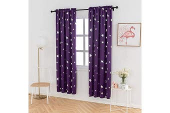 (W38 X L84, Purple/Rod Pocket) - Anjee Boys Curtains for Bedroom 2 Panels with Cute Silver Star, Thermal Insulated Blackout Drapes with Rod Pocket Top, 100cm x 210cm , Purple