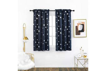 (W38 X L63, Navy Blue/Rod Pocket) - Anjee Foil Blackout Curtains with Stars for Kids Room 100cm x 160cm Navy Blue