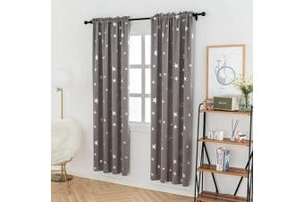 (W38 X L84, Space Grey/Rod Pocket) - Anjee Room Darkening Curtains for Bedroom 210cm Long, Blackout Drapes with Star Pattern, 100cm x 210cm , Grey