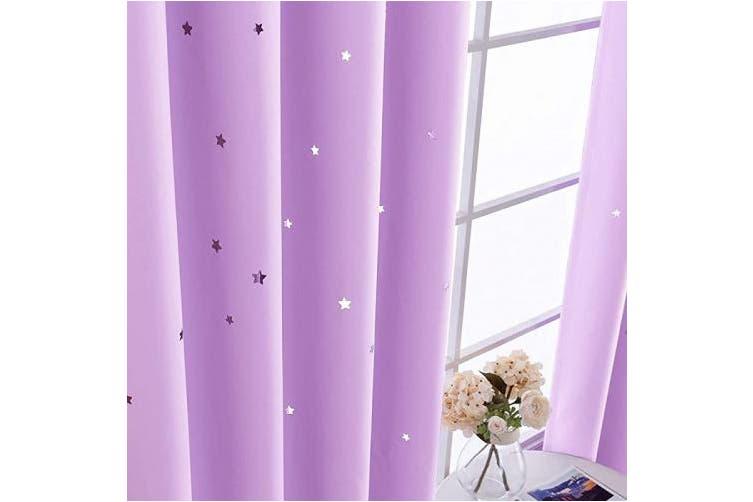 210cm L Lilac Nursery Blackout Curtains Kids Room Darkenings For Bedroom 210cm Long Twinkle Star Star