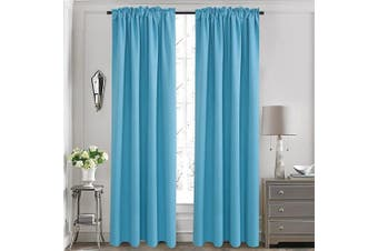 (130cm  x 210cm , Turquoise) - Aquazolax Elegant Back Tab/Rod Pocket Thermal Blackout Window Curtains for Sliding Glass Doors,2 Panels, 130cm x 210cm , Turquoise