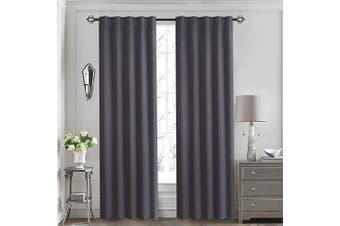 (130cm  x 160cm , Grey) - Aquazolax Premium Thermal Insulated Back Tab/Rod Pocket Blackout Window Curtain Panels for Nursery, 2 Panels, 130cm W x 160cm L, Grey