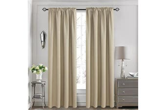 (130cm  x 210cm , Khaki) - Aquazolax Readymade Back Tab Thermal Insulated Blackout Curtains Drapes for Office, Set of 2 Panels, W52 x L84, Khaki