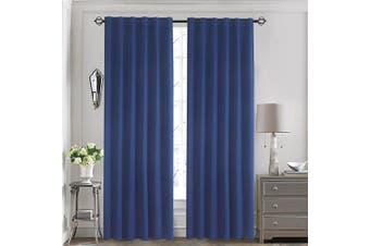 (130cm  x 210cm , Navy Blue) - Aquazolax Back Tab/Rod Pocket Solid Blackout Curtain Panels for Kids Bedroom - with 7 Back Loops per Panel, 2 Panels, 130cm x 210cm , Navy Blue
