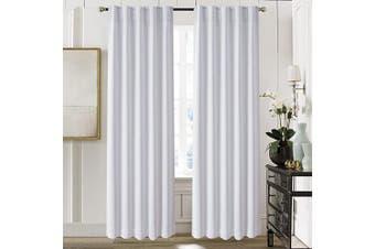 (130cm  x 210cm , Greyish White) - Aquazolax Thermal Insulated Back Tab/Rod Pocket Blackout Drape Curtains for Living Room, 2 Panles Set, 130cm W x 210cm L, Greyish White