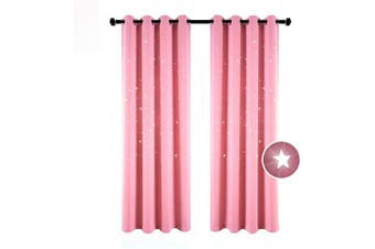 (130cm  x 210cm ', Baby Pink) - BUZIO 2 Panels Twinkle Star Kids Room Curtains with 2 Tiebacks, Thermal Insulated Blackout Curtains with Punched Out Stars for Space Themed Nursery and Bedroom (130cm x 210cm , Baby Pink)
