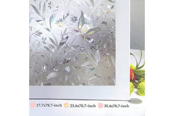 (60cm x 200cm ) - Niviy Window Privacy Film Decorative Flower Pattern Design Window Covering Static Cling Vinly Glass Film Non Adhesive Heat Control Anti UV (60cm by 200cm )