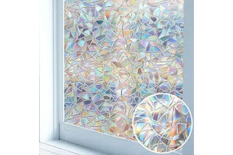 (90cm x 200cm ) - Niviy Window Film Rainbow Effect Non-Adhesive 3D Window Covering Film for Home Kitchen Office 90cm by 200cm ,1 Roll