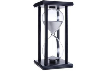 (black frame white sand) - Hourglass Timer for 60 Minutes Sandglass Timer for Kitchen Living Room Home Office Desk Bedroom Party Festival Coffee Table Book Shelf School Game Sand Timer Clock (black frame white sand)