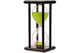 (black frame green sand) - Hourglass Timer for 60 Minutes Sandglass Timer for Kitchen Living Room Home Office Desk Bedroom Party Festival Coffee Table Book Shelf School Game Sand Timer Clock (black frame green sand)
