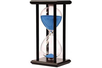 (black frame blue sand) - Hourglass Timer for 60 Minutes Sandglass Timer for Kitchen Living Room Home Office Desk Bedroom Party Festival Coffee Table Book Shelf School Game Sand Timer Clock (black frame blue sand)