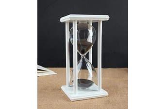 (white frame black sand) - Hourglass Timer for 60 Minutes Sandglass Timer for Kitchen Living Room Home Office Desk Bedroom Party Festival Coffee Table Book Shelf School Game Sand Timer Clock (white frame black sand)