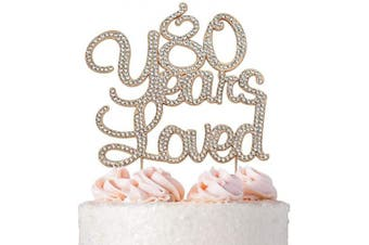 (80 Years Loved Rose) - Premium Metal 80 Years Loved Rhinestone Gem Cake Topper. Perfect 80th Birthday Party Keepsake and Decoration. Sparkling, Crystal and Diamond Style Bling Makes a Great Centrepiece. (80 Rose Gold)