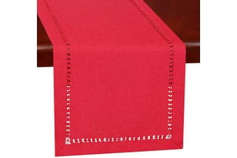(14×48) - Grelucgo Handmade Hemstitched Christmas Holiday Red Rectangle Table Runners Dresser Scarves 36cm X 120cm