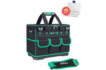 (36cm  Heighten) - AIRAJ 36cm Waterproof Tools Bag Rectangular Opening Heavy Duty Moulded Base Tool Teto for Men,Heighten Tool Organiser(Green & Black)