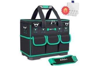 (46cm  Heighten) - AIRAJ 46cm Heighten Tools Bag Close Top Heavy Duty Moulded Base Tool Teto with Square & Triangle Shapes Waterproof Toolbox (Green & Black)