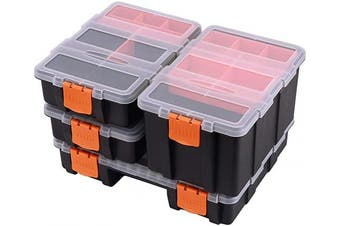 CASOMAN Hardware & Parts Organisers, 4 Piece Set Toolbox, Compartment Small Parts Organiser, Versatile and Durable Storage Tool Box