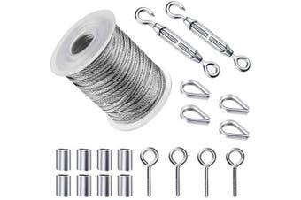 19 Pcs Light Guide Wire,0.2cm x 15m PVC Coated Heavy Duty 304 Stainless Steel Wire Rope Cable with Turnbuckle Wire Tensioner Accessories (Wire & Connectors)