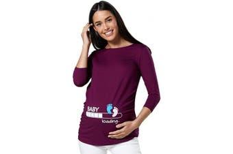 (8-10, Plum) - Zeta Ville Maternity - Women's Pregnancy Funny Baby Feet Print T-Shirt Top 549c