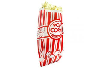 (25) - Popcorn Bags. Coated for Leak/Tear Resistance. Single Serving 30ml Paper Sleeves in Nostalgic Red/White Design. Great Movie Theme Party Supplies or for Old Fashioned Carnivals & Fundraisers! (25)