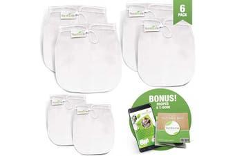 (6, 2 Large, 2 Medium, 2 Small) - Vandoona Nut Milk Bag – Large 12x12 Reusable Premium Mesh Strainer Bag  Cheesecloth Bag for Filtering & Straining Almond Milk  Cheese  Yoghurt  Juices & More. (6pk - 2 Larges, 2 Mediums, 2 Smalls)