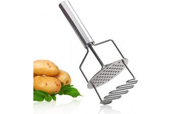 Dual-Press Potato Masher, Stainless Steel Potato Ricer Press, Premium Heavy Masher Ricer Tool for Mashing Baby Food, Vegetable, Fruits and Kitchen Baking