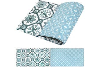 (80cm  x 44cm , Floral Tile) - OPUX Anti Fatigue Comfort Floor Mat | Standing Mat for Kitchen Home Office Desk | Reversible Decorative Ergonomically Engineered Rug | Non-Slip Waterproof Easy to Clean | Floral Tile, 80cm x 44cm