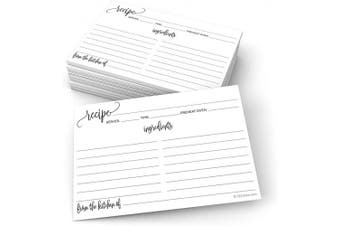 (Standard (10cm  x 15cm ), White) - 321Done Recipe Cards with From the Kitchen Of (Set of 50) 10cm x 15cm - Black and White Modern Minimalist, Large Double-Sided for Weddings, Bridal Shower - Made in USA