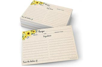 (10cm  x 15cm  (Standard), Tan) - 321Done Sunflower Recipe Cards (Set of 50) Large 4x6 - Rustic Kraft Tan, From the Kitchen Of - Double-Sided for Weddings, Bridal, Baby Shower - Made in USA