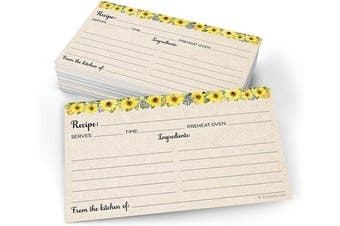 (7.6cm  x 13cm  (X-Small), Tan) - 321Done Sunflower Recipe Cards (Set of 50) Small 7.6cm x 13cm - From the Kitchen Of Rustic Tan - Double-Sided for Weddings, Bridal, Baby Shower - Made in USA