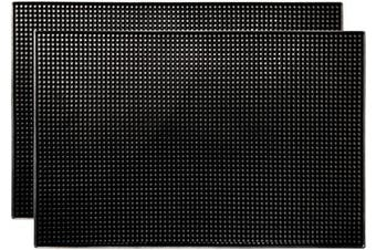 (Large, Black) - Bar Mat by ProTensils, 46cm x 30cm , Quality Rubber Barber Service Mat, Black Coffee Bar Mats, Spill Mat for Counter-Top (2 Pieces)